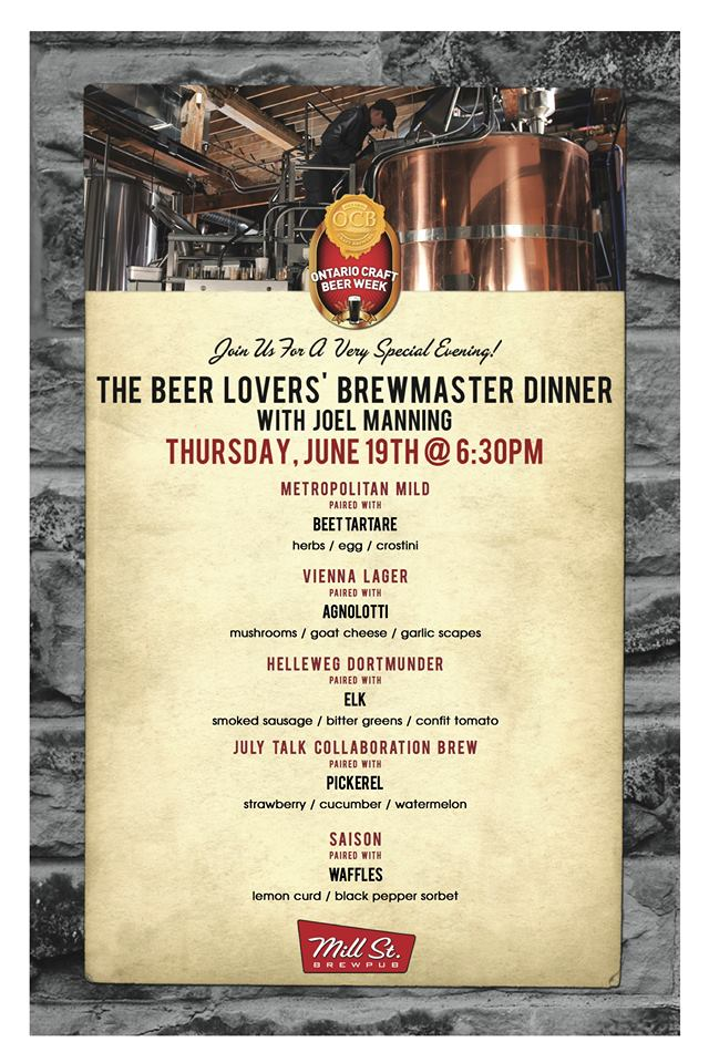BEER&FOOD: The Beer Lover's Brewmaster Dinner at Mill Street Brewpub (June 19, 2014)
