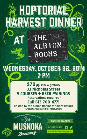 Hoptical Harvest Dinner w/ The Albion Rooms and Muskoka Brewery